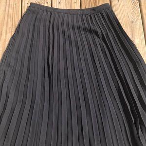 Christopher & Banks Skirts - Pleated Black Petite Midi Skirt